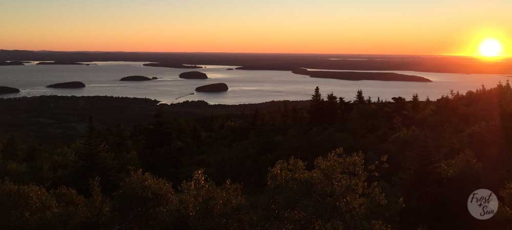 Sunrise from Cadillac Mountain summit, Acadia National Park