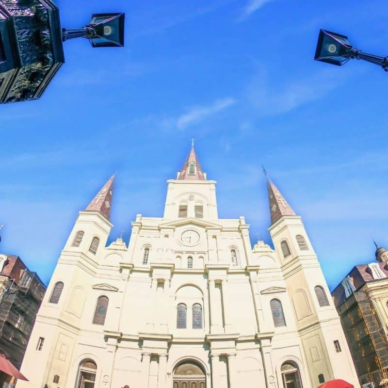 Closeup of St. Louis Cathedral in New Orleans' Jackson Square.
