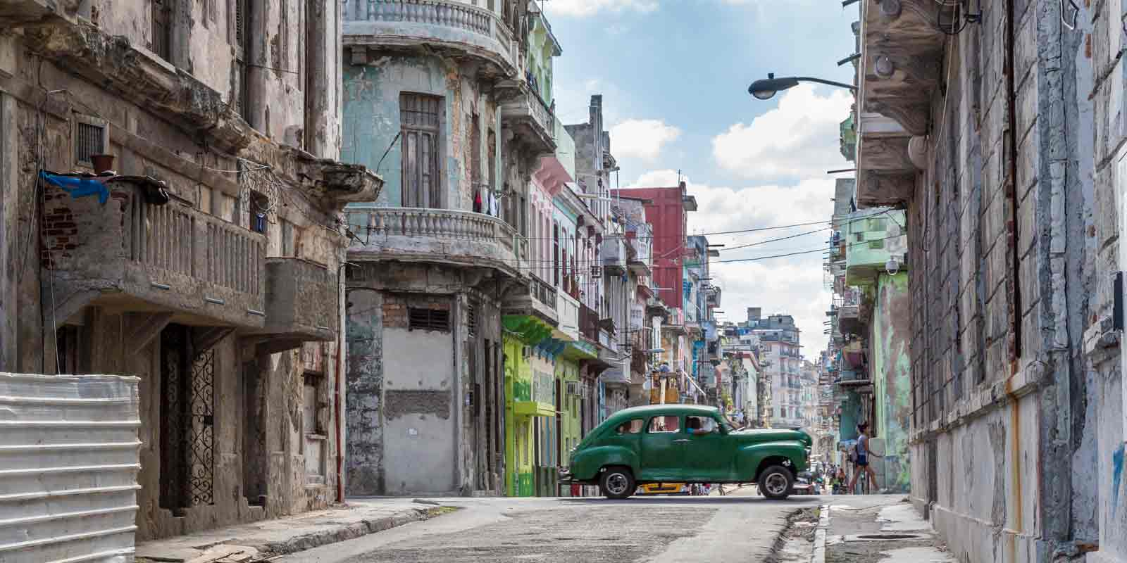 Some of Cuba is in disrepair, such as this neighborhood, a stark contrast to the typical image of colorful buildings and shiny classic cars.