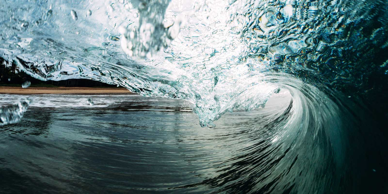 Close up of an ocean wave.