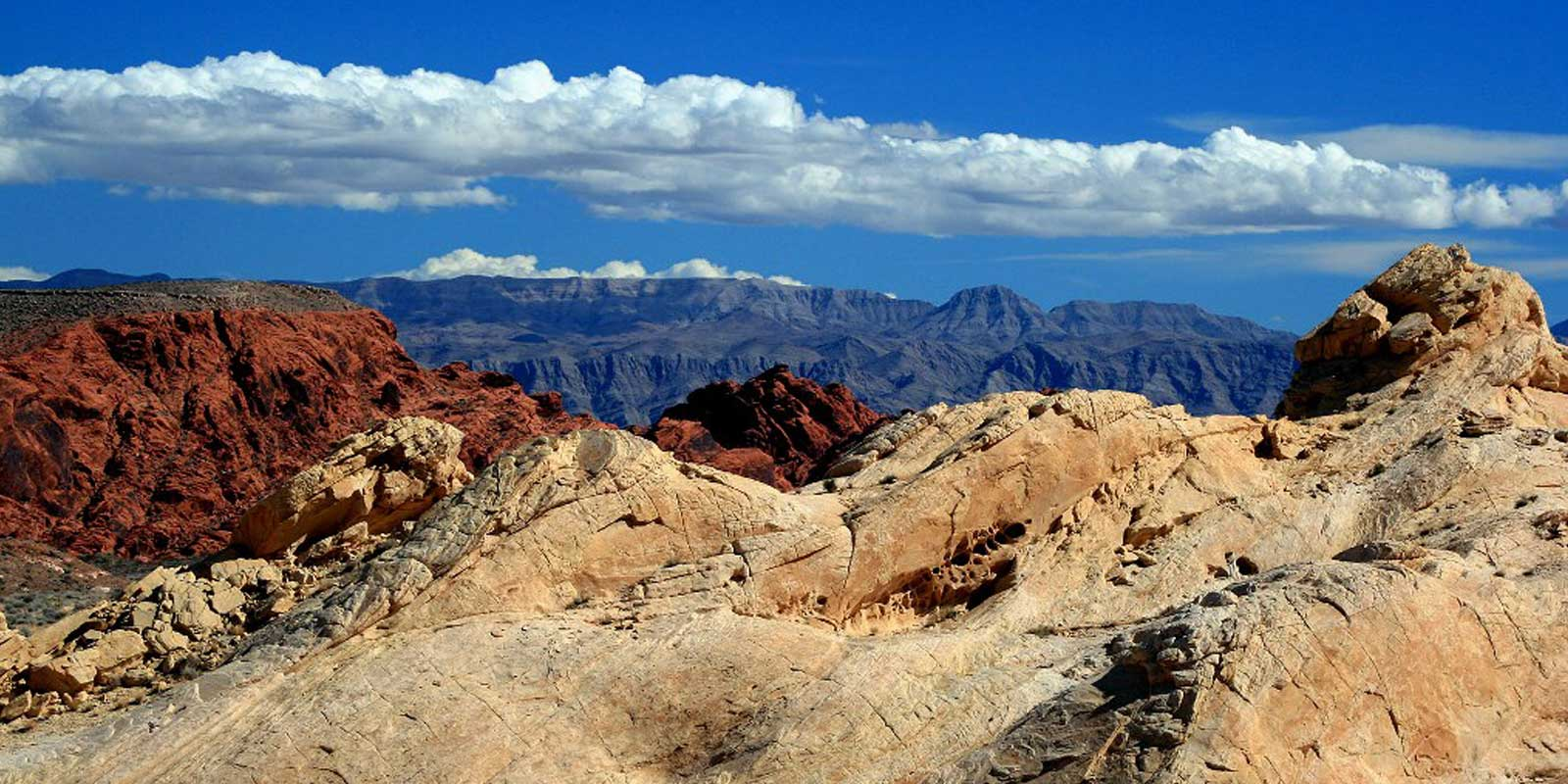 Landscape photo of the canyons at Valley of Fire State Park in Nevada with perfect blue skies.