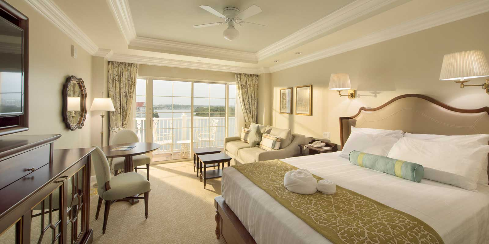 Room view of a Grand Floridian villa room.