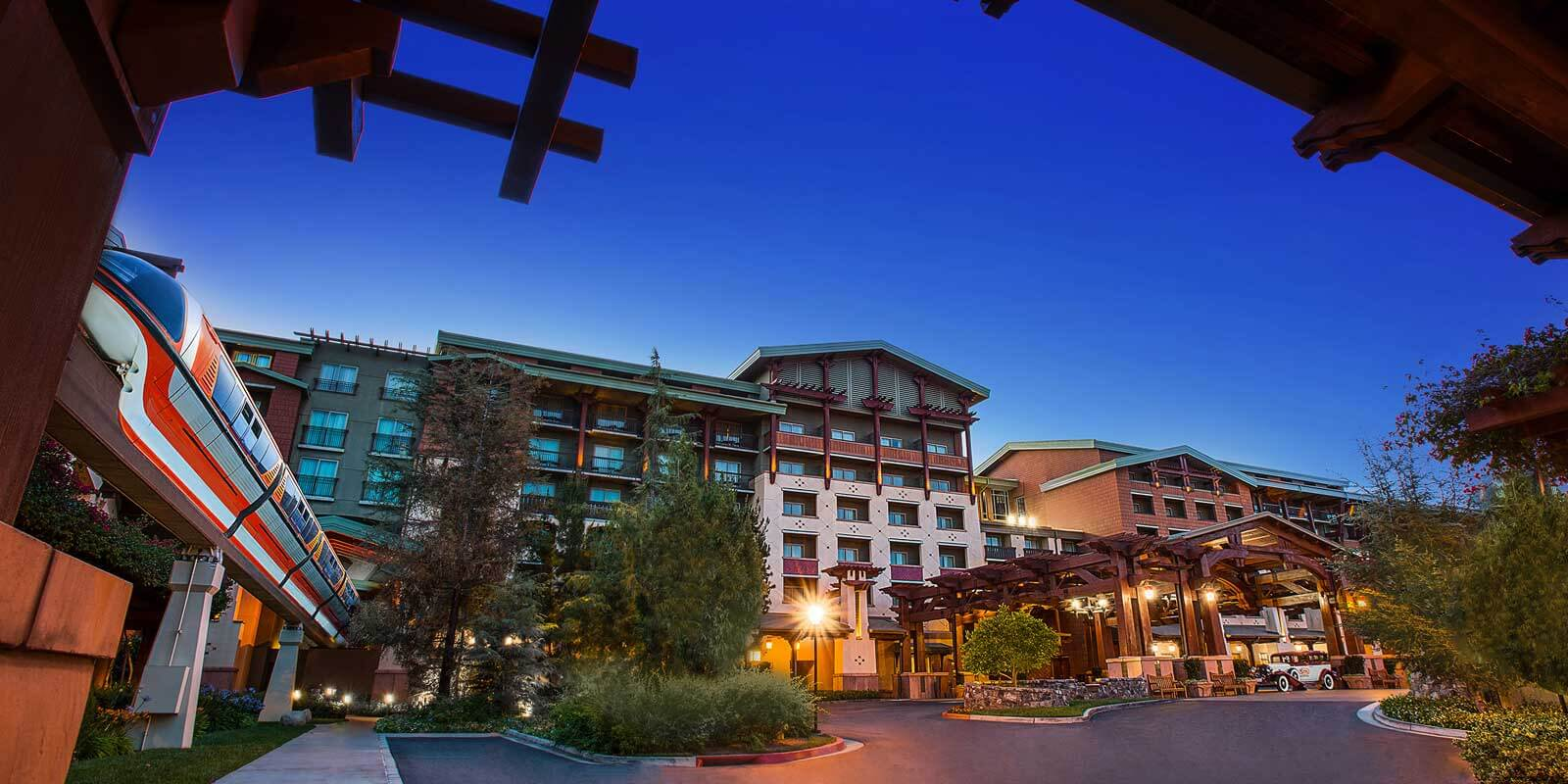 Landscape shot of Disney's Grand Californian Villas from underneath the monorail.