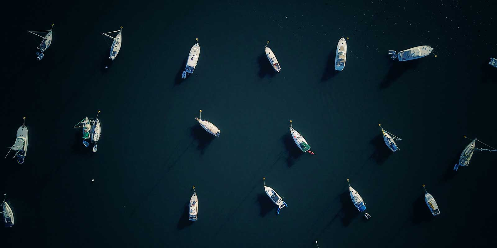 Aerial view of boats in a bay