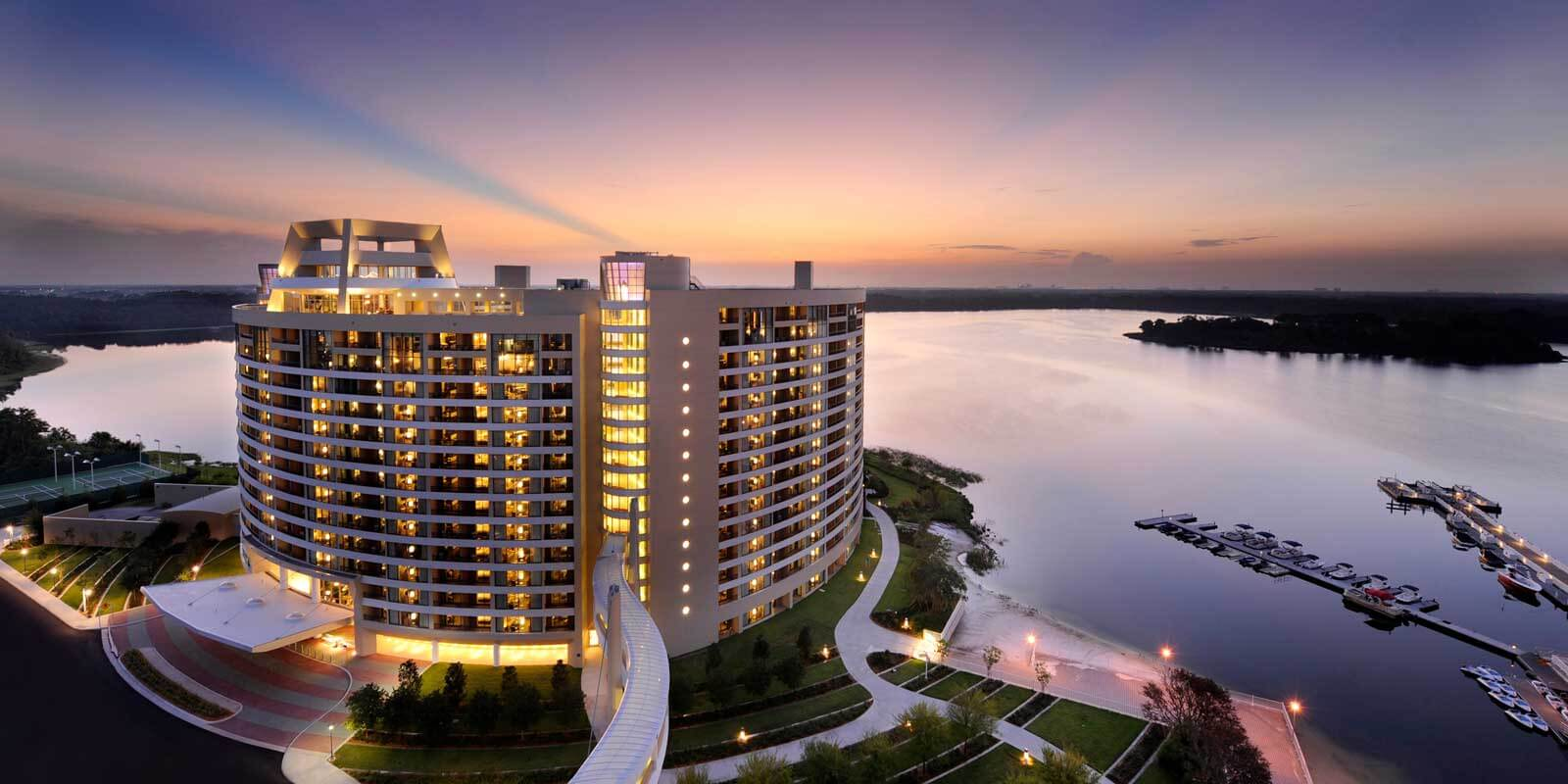 Photograph of Bay Lake Tower at sunset