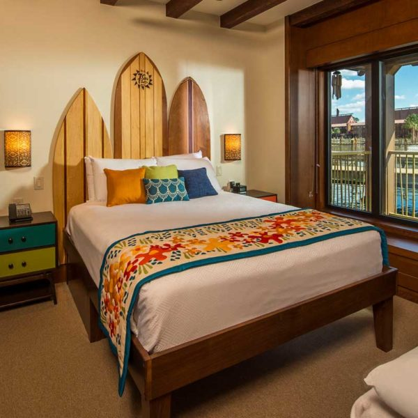 Photo of a room inside the Polynesian bungalows.