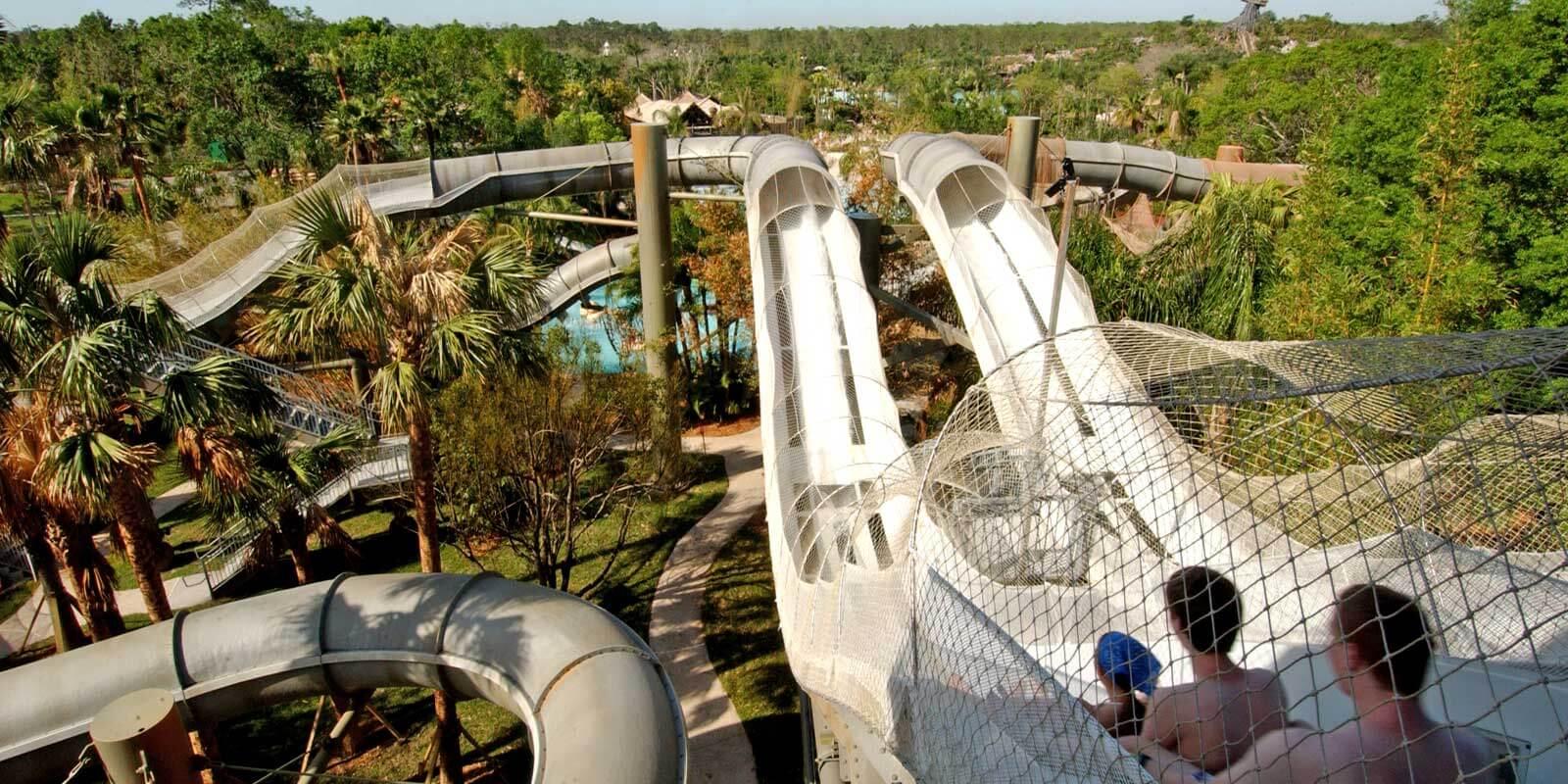 Landscape photo of the Crush n Gusher water slide at Disney's Typhoon Lagoon.