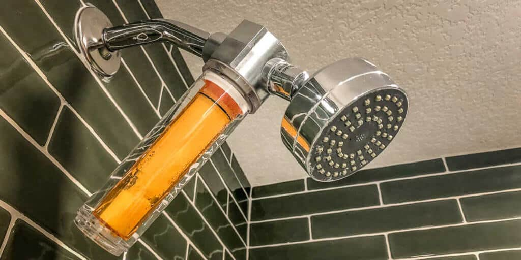 Closeup of the vitamin C infused shower head in the Park MGM Stay Well hotel rooms.