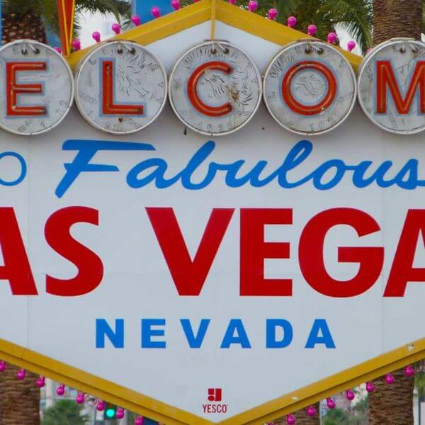 Close up photo of the Welcome to Fabulous Las Vegas Nevada sign.