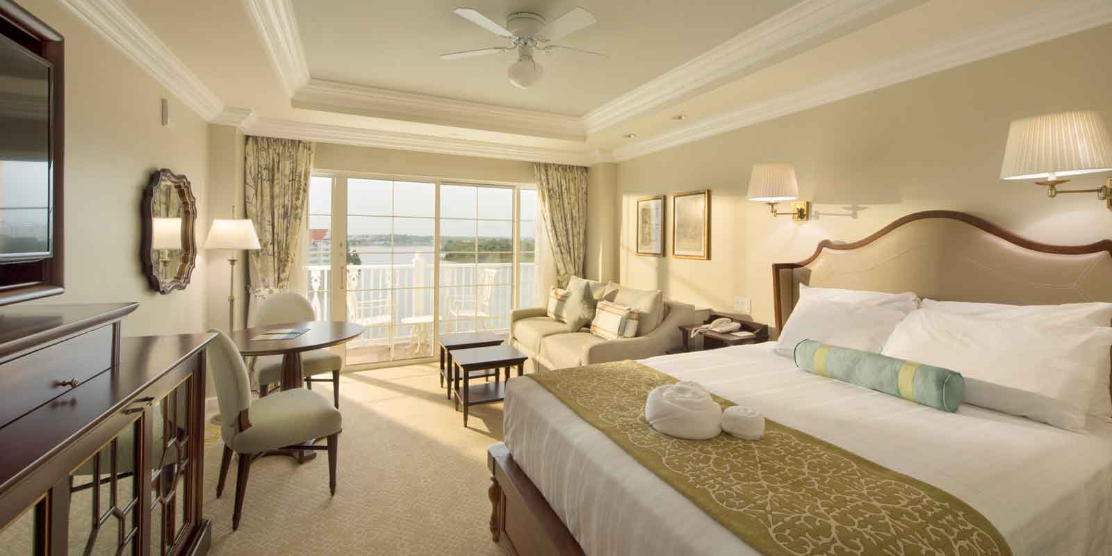 Landscape view of a room at The Villas of the Grand Floridian Spa & Resort at Disney World.