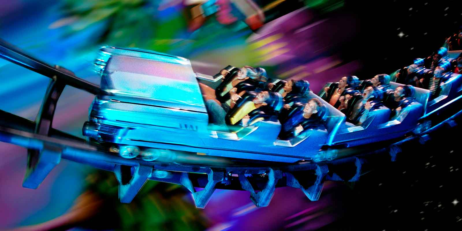 Photo composite of a group of people on the Rock n Roller Coaster at Hollywood Studios.