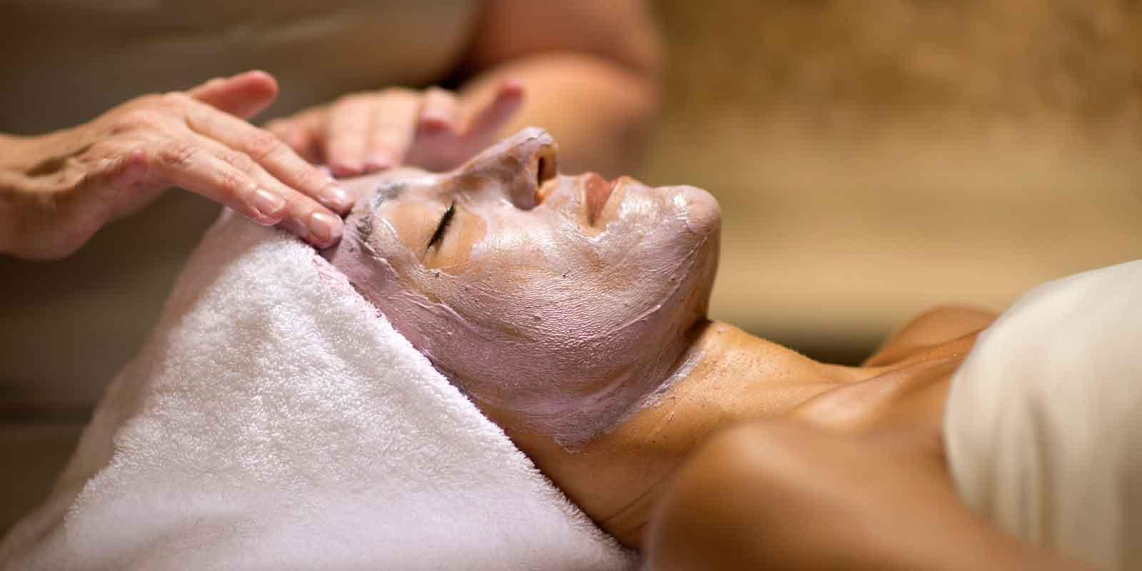 Close up of a woman getting a facial at Disney's Saratoga Springs Resort spa, Senses.