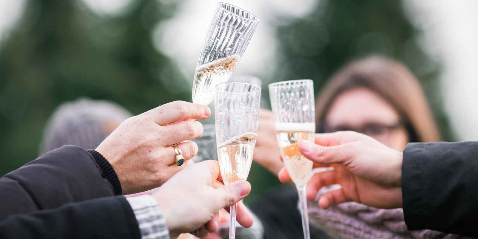 Closeup photo of 3 people clinking champagne glasses.