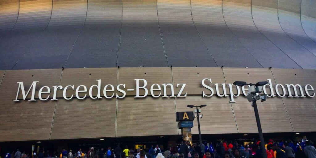 Closeup of the Mercedes-Benz Superdome sign in New Orleans.
