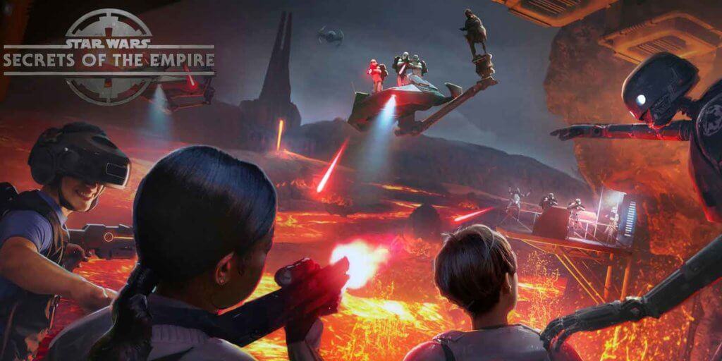 Concept art of the Star Wars virtual reality experience at The VOID in Disney Springs. 3 young people are immersed in a fiery scene with Star Wars characters.