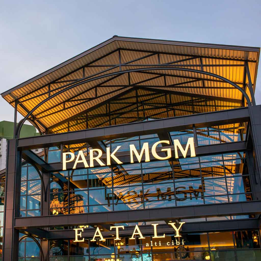 Closeup of the building and signage for the Park MGM Eataly food hall.