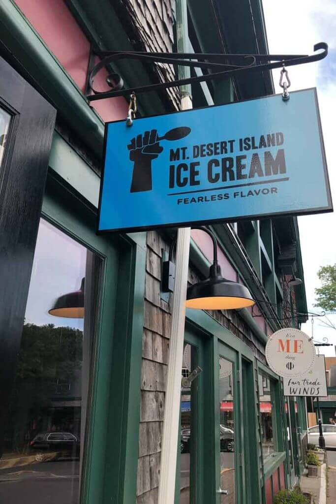 "A photo of an ice cream shop sign that says ""Mt. Desert Island Ice Cream Fearless Flavor."""