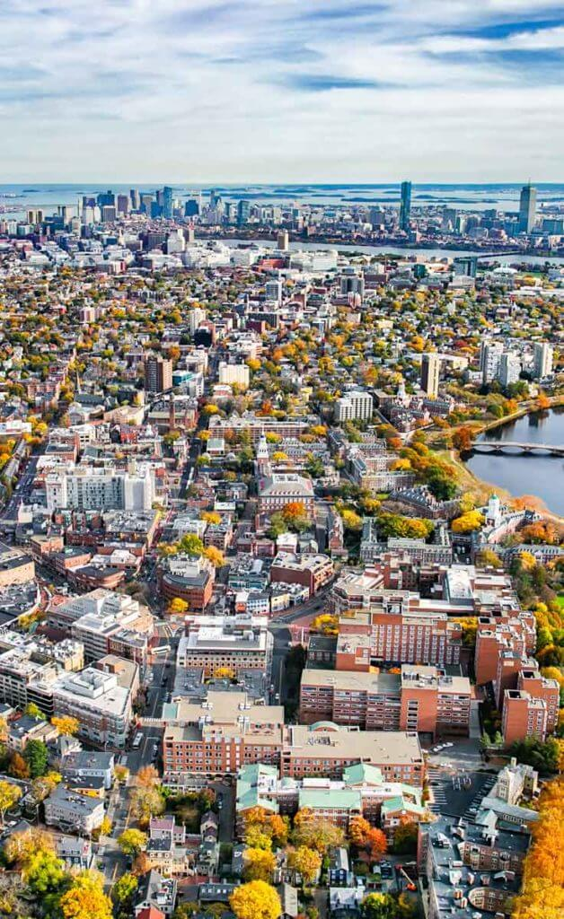 Aerial view of Cambridge, MA during the Fall season.