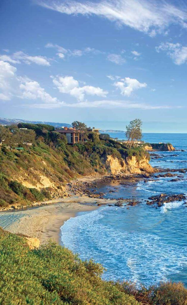 Aerial view of the Little Corona del Mar Beach alcove in Newport Beach, California.