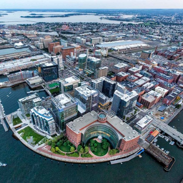 Aerial view of the Seaport district in Boston.