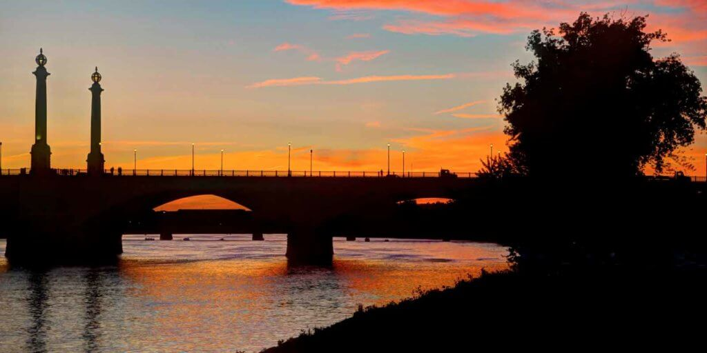 Landscape view of Memorial Bridge in Springfield at sunset.