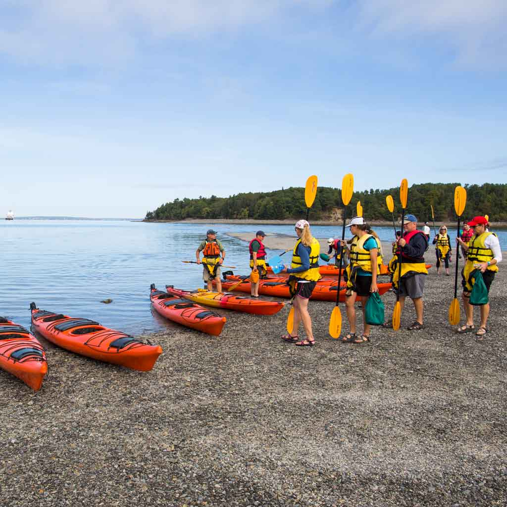 A group of people in life jackets with tadem kayaks sitting on a shoreline.