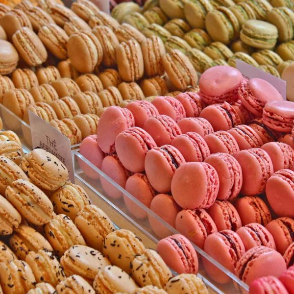 Closeup of French macaron cookies at a bakery