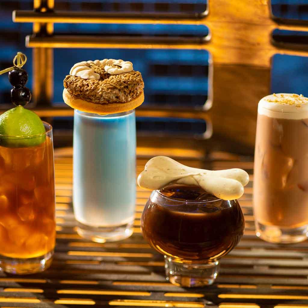 Closeup photo of 4 new drinks at Star Wars land at Hollywood Studios.
