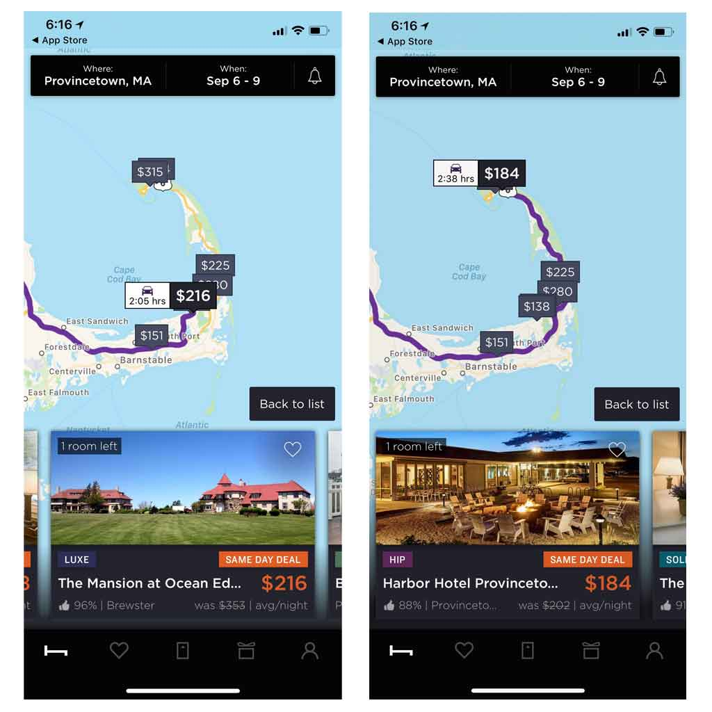 Photo collage with 2 screenshots from the Last Minute Hotel app showing hotels available in Provincetown, MA.