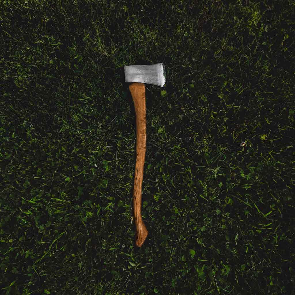 Aerial photo of an axe lying in grass.