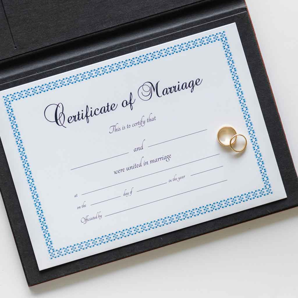 Closeup of a faux marriage certificate.