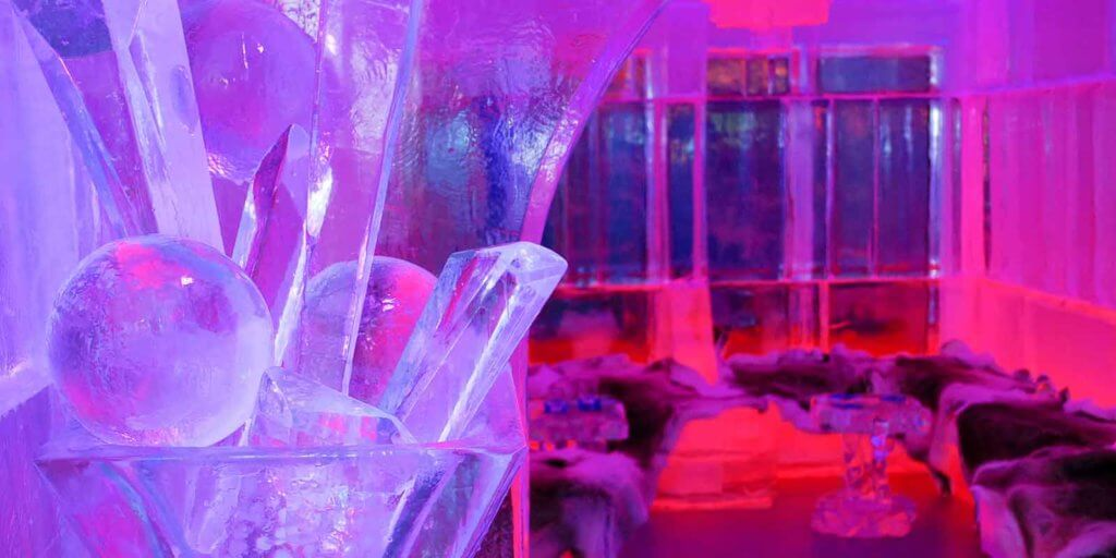 Closeup of a lounge area made out of ice.