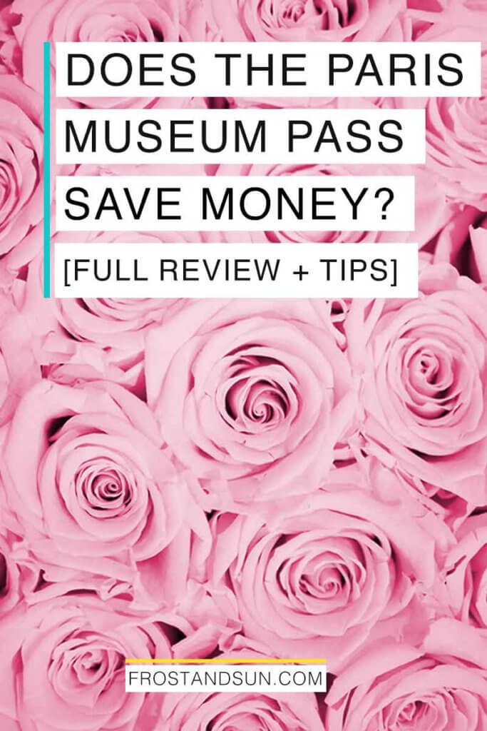"""Closeup of a bunch of pink roses. Overlying text reads """"Does the Paris Museum Pass Save Money? Full Review and Tips."""""""
