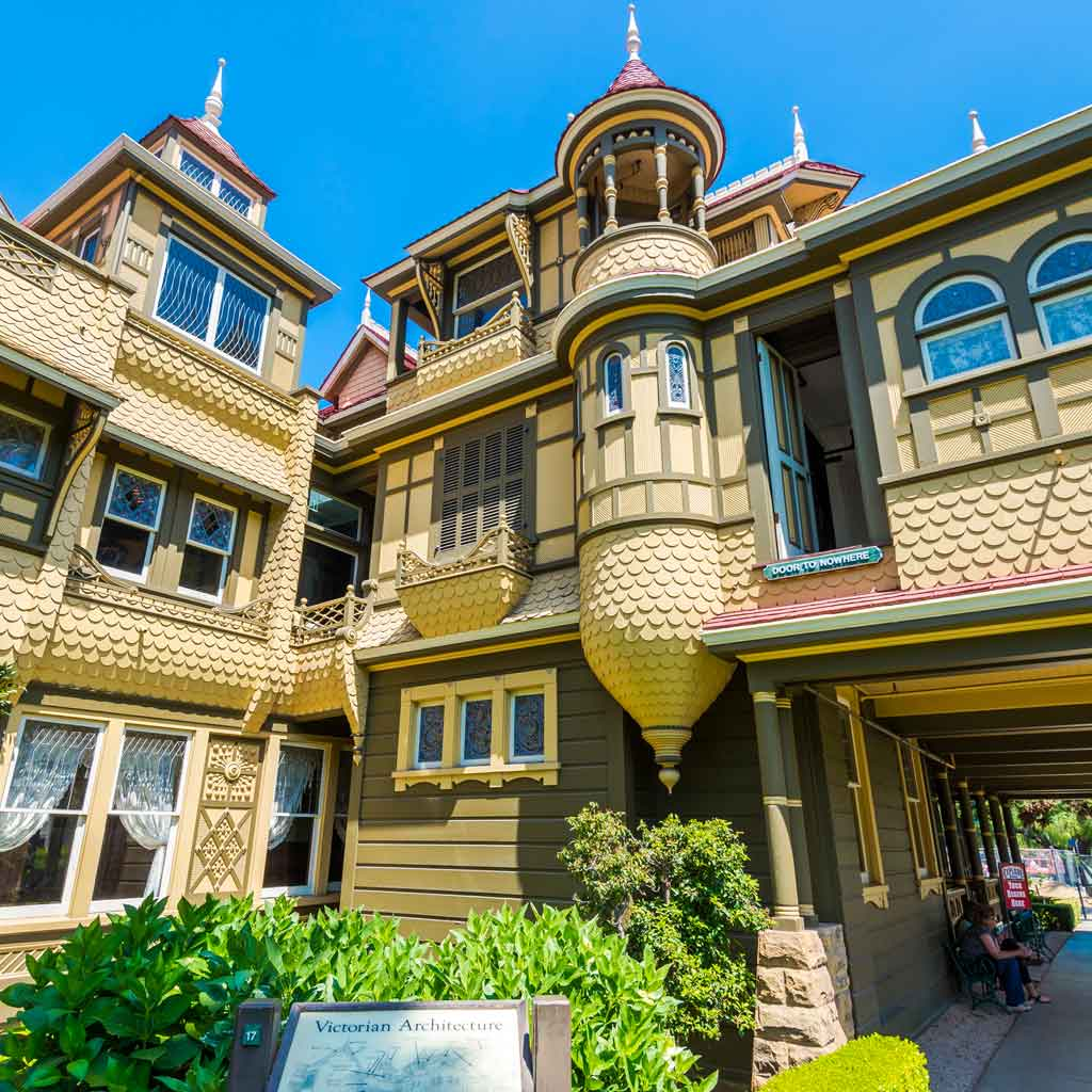 Detailed view of a corner of the Winchester Mystery House.