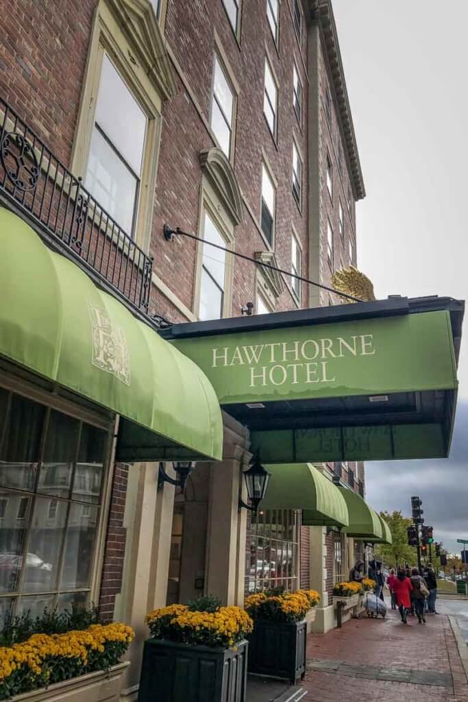 Photo of the outside of the Hawthorne Hotel.