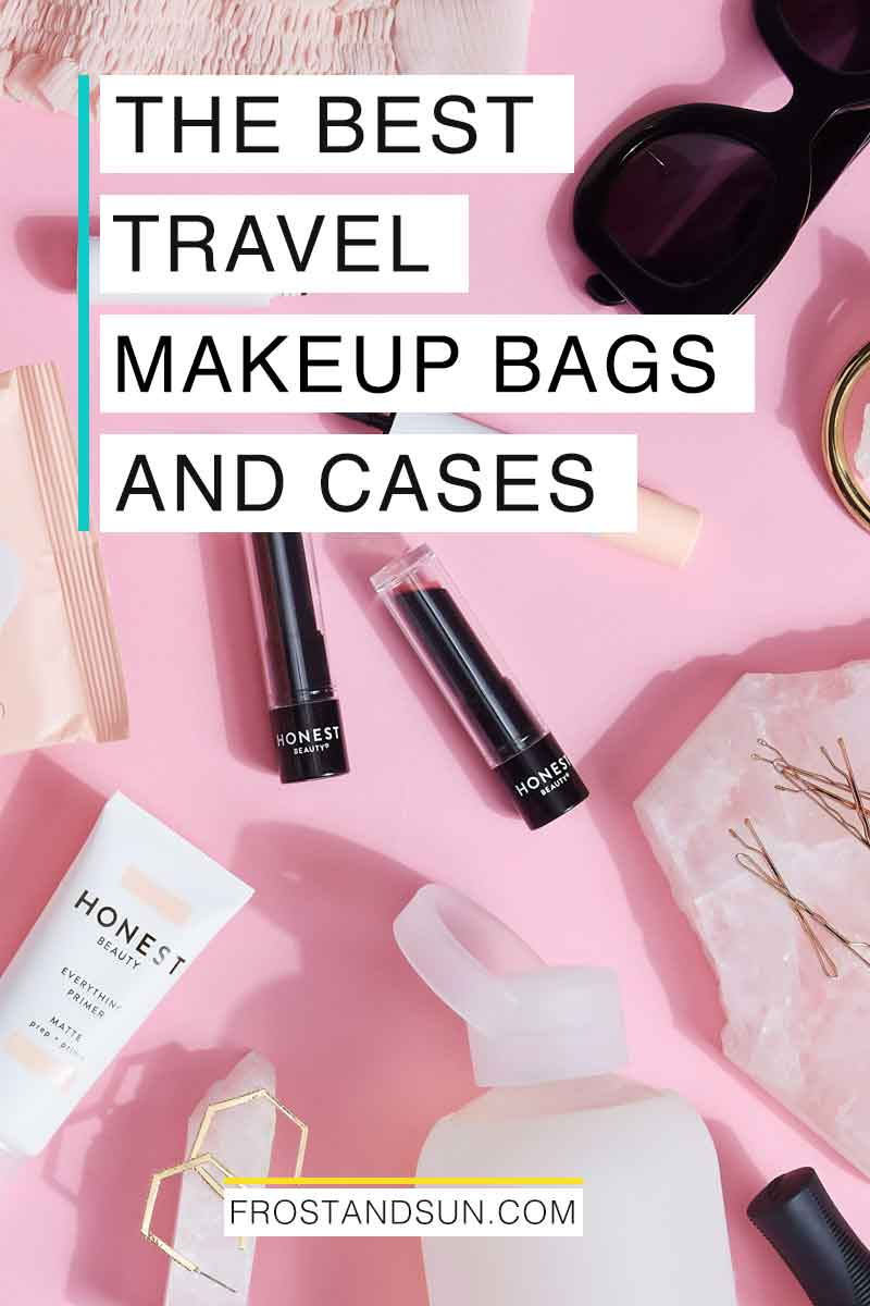 Keep your makeup and toiletries organized and easy to reach with these cute makeup bags for travel. #makeup #beauty #travelbeautytips #beautytips #traveltips
