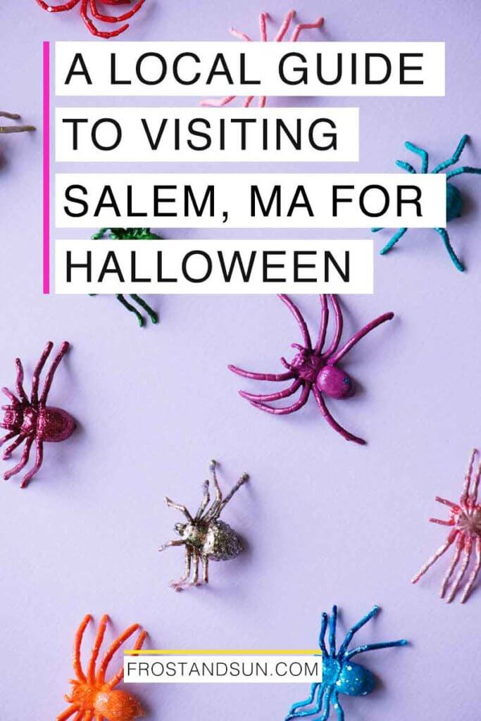 "Flat lay photo of colorful toy spiders artfully arranged atop a light purple surface. Overlying text reads ""A Local Guide to Visiting Salem, MA for Halloween."""