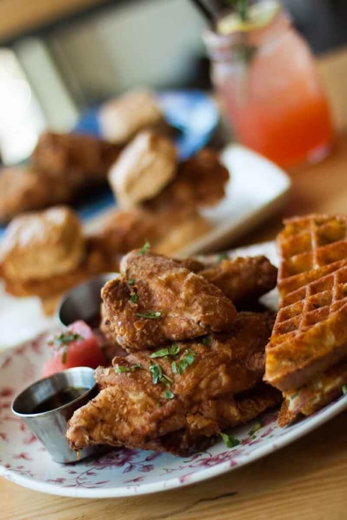 Closeup of a plate of fried chicken and waffles.