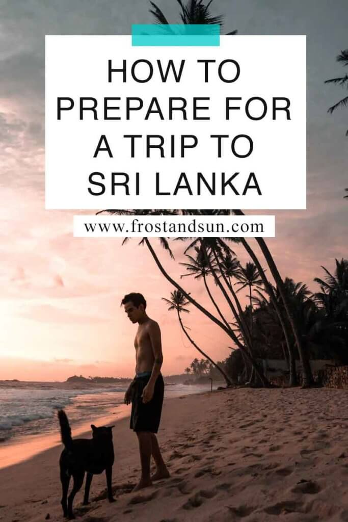 "Photo of a man and a dog walking on a beach. Overlying text reads ""How to Prepare for a Trip to Sri Lanka."""