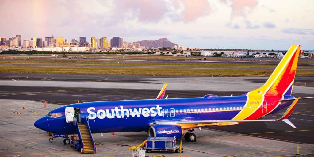 Photo of a Southwest Airlines plane parked at Honolulu International Airport in Hawaii, the newest destination for Southwest.