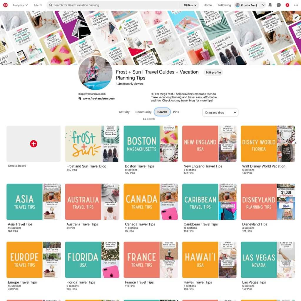 Screenshot of the Pinterest profile page for Frost + Sun.