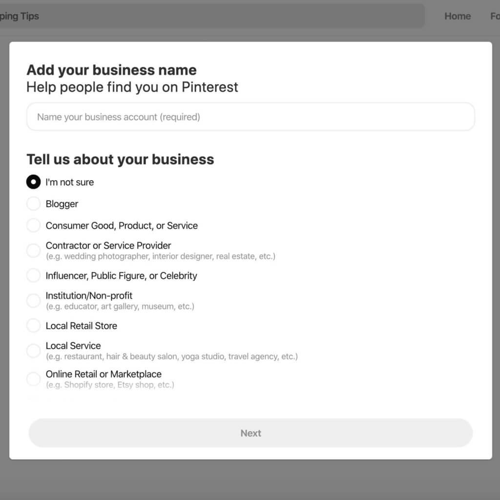 Screenshot of the Pinterest business account creation workflow.