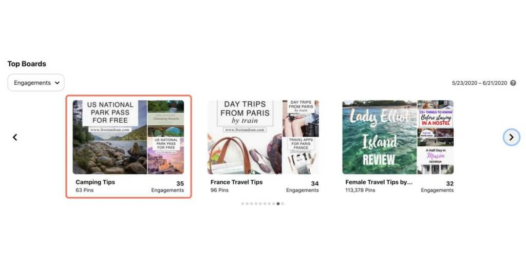 Screenshot of Top Boards in Pinterest Audience Insights. Three boards with low engagement are shown: Camping tips, France travel tips, and Female Travel Tips by Tourlina.