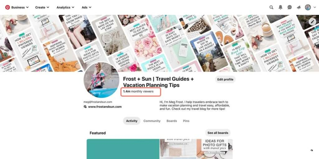 "Screenshot of the Pinterest profile page for user frostxsun. A statistic that says ""1.4 million monthly viewers"" is circled."