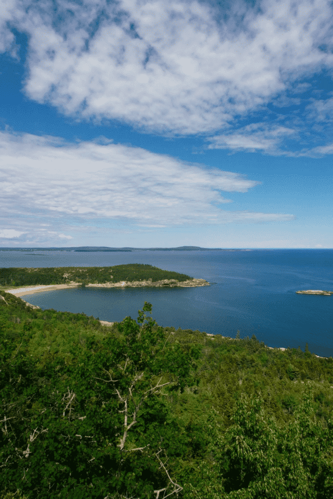 View of Sand Beach in Acadia National Park from Gorham Mountain