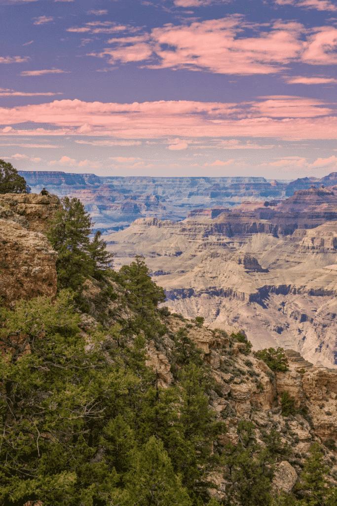 Hazy photo of the canyon at Grand Canyon National park in Arizona.