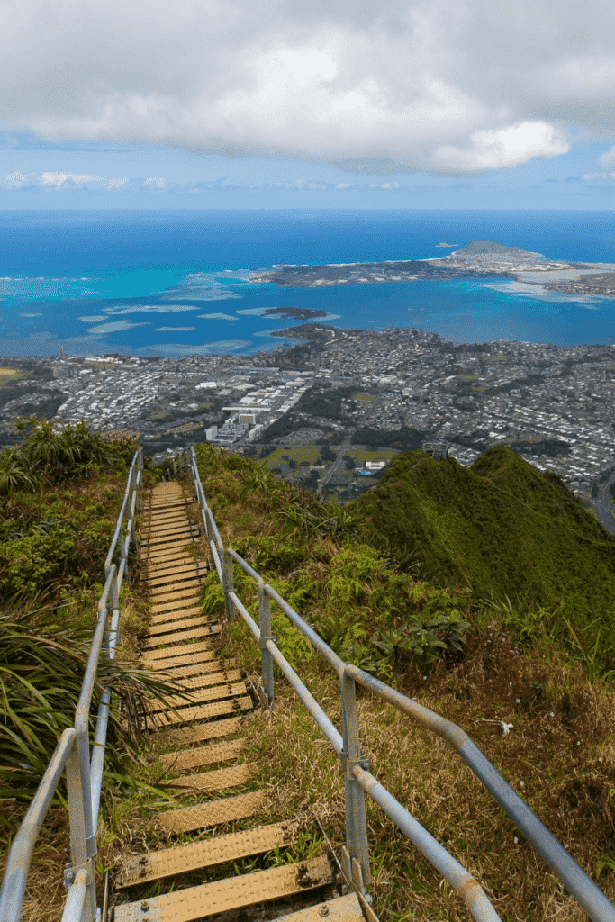View down the Haiku Stairs over the city of Honolulu in Oahu, Hawaii.