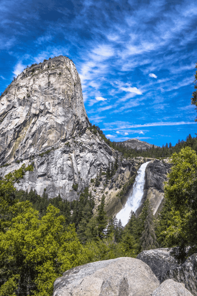 View from the Mist Trail in Yosemite National Park in California.