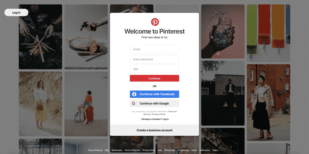 Screenshot of Pinterest homepage for new users