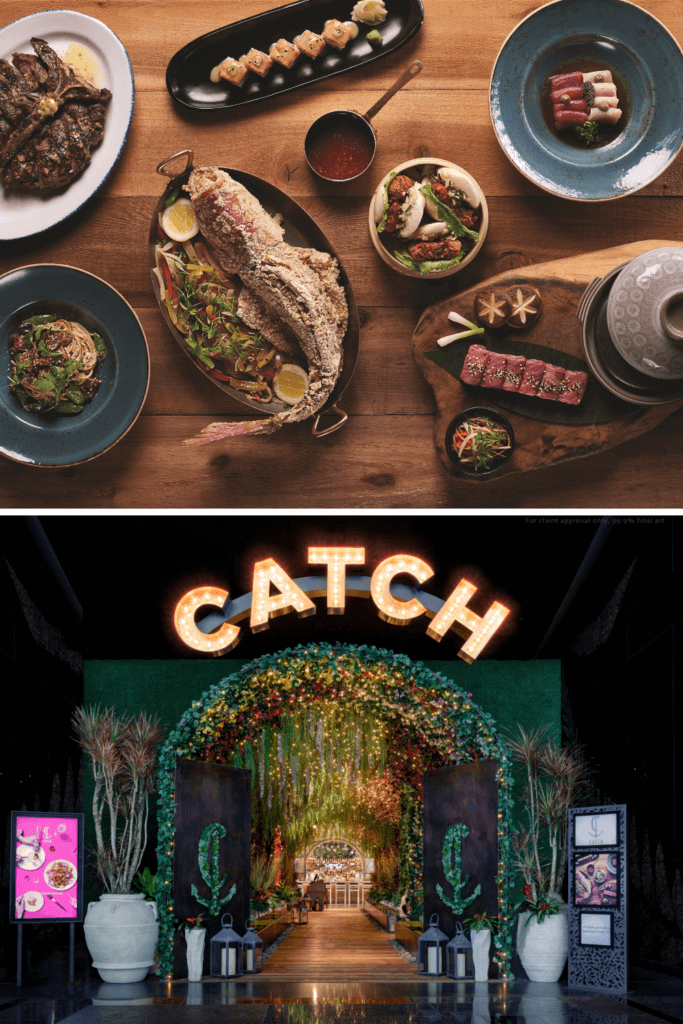 Photo collage with a flatlay photo of various seafood dishes and a photo of the entrance to Catch at Aria Las Vegas.